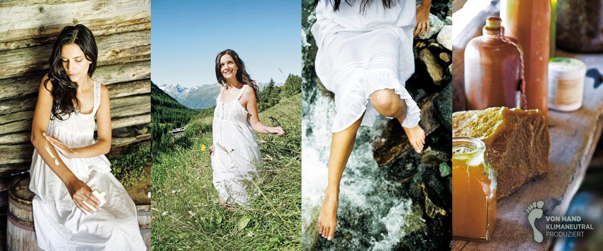 Frau auf der Alm mit Naturkosmetik von Chrystal